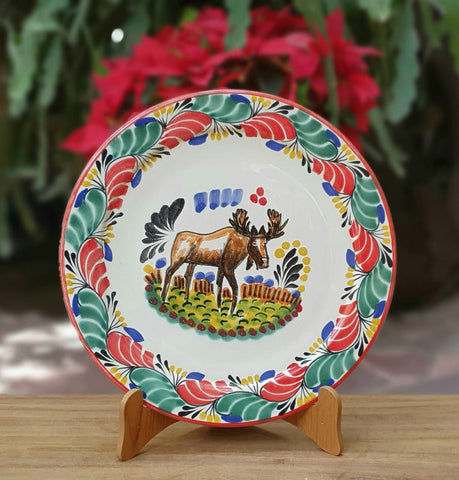 ceramic-plates-handcrafts-christmas-deer-motive-tablesetting-gift-amazon-ebay
