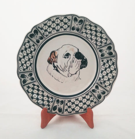 mexican plate pottery decorative dog plate folk art