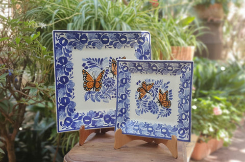 mexican-plates-pottery-tableware-summer-butterfly-blue-talavera-handpainted