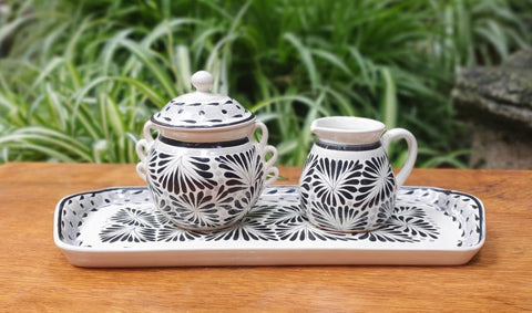 mexican-pottery-mayolica-sugar-and-creamer-set-black-and-white