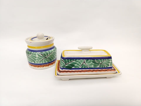 mexican pottery butterdish and Jam Jar folk art hand painted mexico