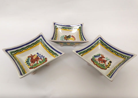 mexican ceramic snack dish folk art hand paited