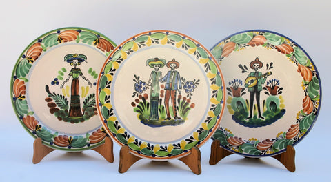 mexican plates catrina salad plate folk art mexico painted by hand