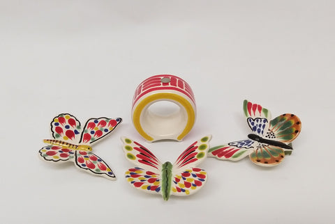 mexican table decor butterfly napkin ring ceramics majolica
