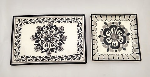 mexican plates flower pattern black folk art ceramics