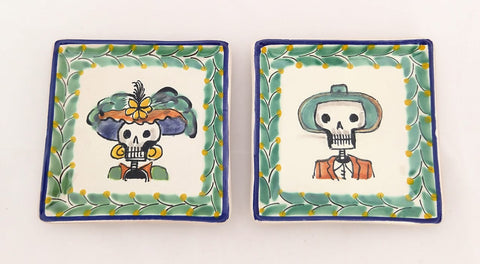 mexican plates folk art catrina motive hand painted workshop gorky mexico