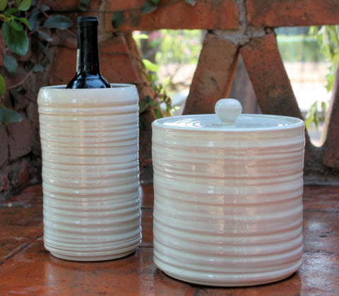 mexican decor table top white vase wine and ice vase folk art mexico