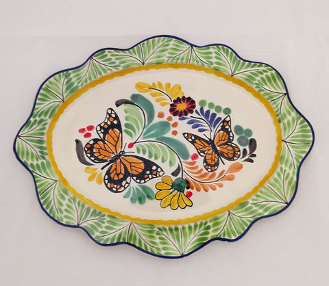 mexican trays decorative platter folk art butterfly hand painted majolica