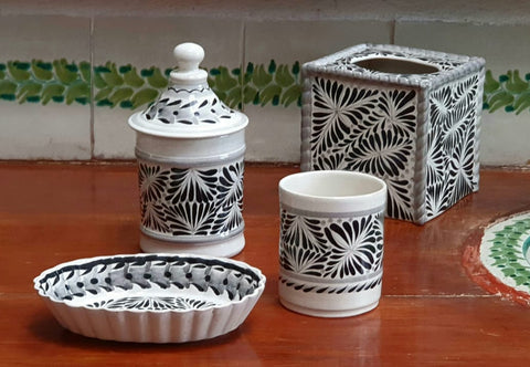 Bathroom accesories-Bathroom Set-washing hands-clean-nose-hand thowrn-Handmade- hand-painted-mexican-pottery-GorkyGonzalez-Gorky Pottery-ceramics-decor-health care-self care-Black and White
