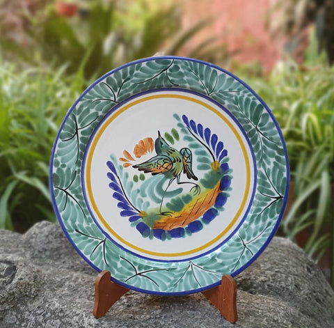 Bird-plate-mexican pottery-ceramics-handmade- hand thrown- hand paited- Gorky pottery- Mexico-Majolica-Eat Different-Table Top-Ceramics-Special Piece-Dancing bird-Spring