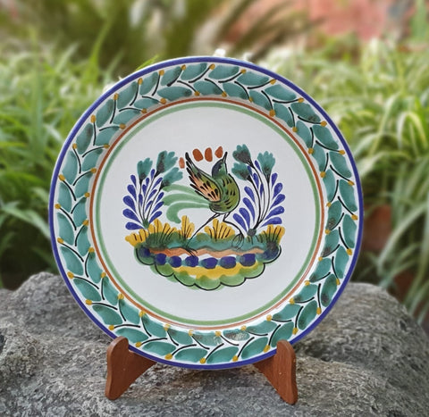 Bird-plate-mexican pottery-ceramics-handmade- hand thrown- hand paited- Gorky pottery- Mexico-Majolica-Eat Different-Table Top-Ceramics-Special Piece-Dancing Bird