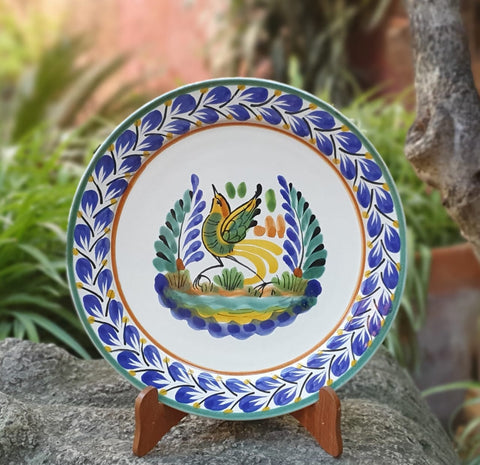 Bird-plate-mexican pottery-ceramics-handmade- hand thrown- hand paited- Gorky pottery- Mexico-Majolica-Eat Different-Table Top-Ceramics