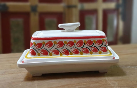 Butter Dish- Butter Container- Mantequillero-Handmade- hand-painted-mexican-pottery-GorkyGonzalez-Gorky Pottery-Kitchen-Cooking-Gorky Gonzalez