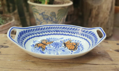 Butterflies-oval-bolw-chips-snack-dish-bowl-plates-ceramic-hand-painted-Mexican-Pottery-Ceramics-Handmade- Hand Painted- Gorky Pottery-Table set ups