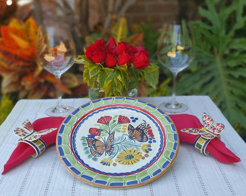 Butterfly Plates-ceramic-plates-handcrafts-hand painted-Gorky Pottery-Majolica-Mexican Pottery-Gorky Gonzalez-Eat Different