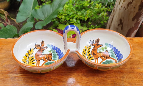 Deer Fooded-Salsa-bolw-chips-snack-dish-bowl-ceramic-hand-painted-Mexican-Pottery-Ceramics-Handmade- Hand Painted- Gorky Pottery-Traditions-Table set ups-mayolica