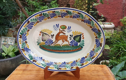 Deer Oval Tray-Ceramics-Handmade-Hand Painted-Mexican Pottery-Gorky Pottery-Tradicional-Decoration-Kitchen-Table Top-Table Settings-Tebale Set UP-Eat Different-Cooking with Style-Mexican Table-Cook Different
