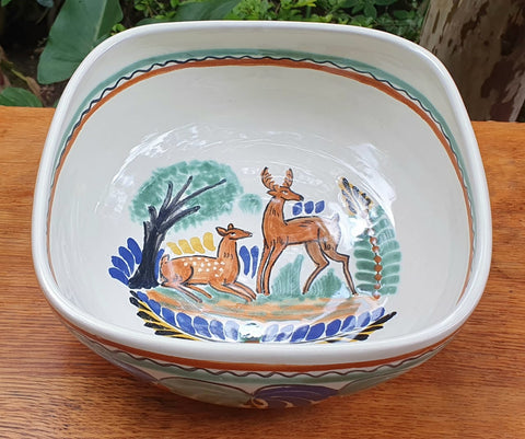 Deer Salad Bolw-chips-snack-dish-bowl-ceramic-hand-painted-Mexican-Pottery-Ceramics-Handmade- Hand Painted- Gorky Pottery-Traditions-Table set ups
