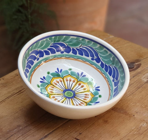 Flower-Soup bowl-cereal bowl-bolws-mexican pottery- ceramics-hand thrown - handmade-hand painted-Gorky Gonzalez-Gorky Pottery-Blue and White
