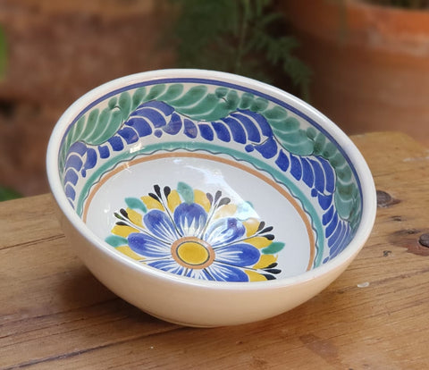 Flower-Soup bowl-cereal bowl-bolws-mexican pottery- ceramics-hand thrown - handmade-hand painted-Gorky Gonzalez-Gorky Pottery-Multi-colors