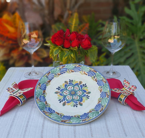 Flower Plates-ceramic-plates-handcrafts-hand painted-Gorky Pottery-Majolica-Mexican Pottery-Gorky Gonzalez-Eat Different