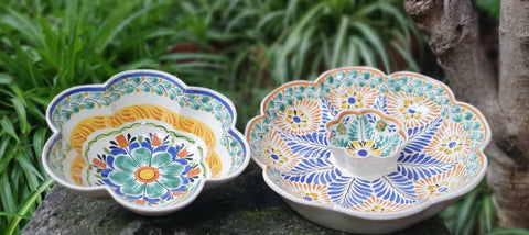 Flower Salad Bowl-Nacho bowl-hand made-Gorky Pottery-Kitchen-Cooking-Table Top-mexican salad bowl ceramic pottery hand painted majolica mexico