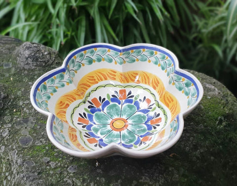 Flower Salad Bowl-hand made-Gorky Pottery-Kitchen-Cooking-Table Top-mexican salad bowl ceramic pottery hand painted majolica mexico