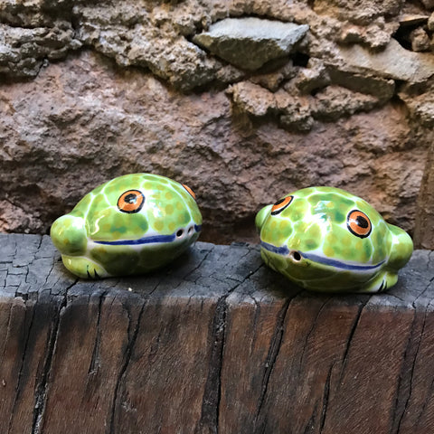 Frog Salt and Pepper Shaker-handcrafts-hand painted-Gorky Pottery-Majolica-Mexican Pottery-Gorky Gonzalez-Eat Different