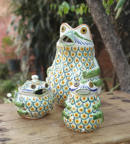 Frogs-creamer-sugar-water-pitcher-jar-ceramic-hand-painted-Mexican-Pottery-Ceramics-Handmade- Hand Painted- Gorky Pottery-Set of 3-jarra-ranas