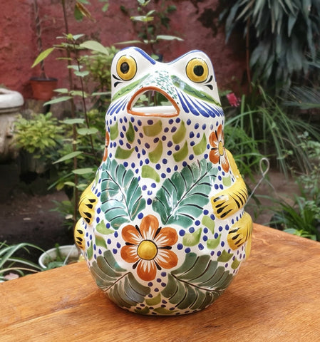 Frog-water-pitcher-jar-ceramic-hand-painted-Mexican-Pottery-Ceramics-Handmade- Hand Painted- Gorky Pottery-jarra-ranas (3)