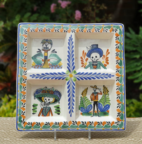 mexican-ceramic-tray-handcrafts-hand-made-guanajuato-mexico-catrina-halloween-decor-tablesetting