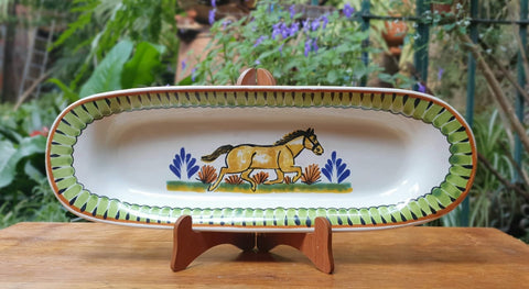 Hourse Oval Tray-Ceramics-Handmade-Hand Painted-Mexican Pottery-Gorky Pottery-Tradicional-Decoration-Kitchen-Table Top-Table Settings-Tebale Set UP-Eat Different-Cooking with Style-Mexican Table-Cook Different