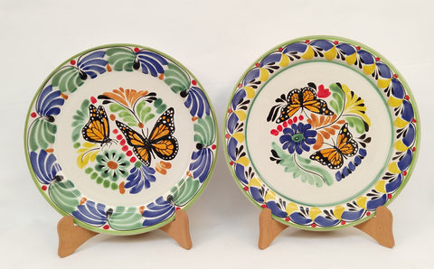mexican plates pottery folk art butterfly motive hand made gorky