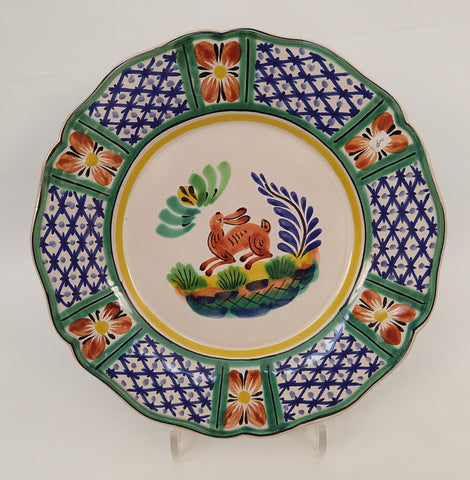 mexican plates folk art hand painted rabbit motive gorky gonzalez