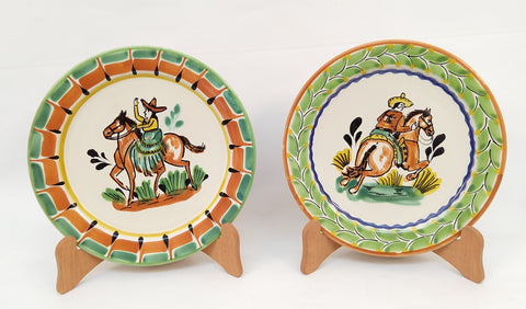 mexican plates cowboy motive hand craft hand thrown majolica mexico