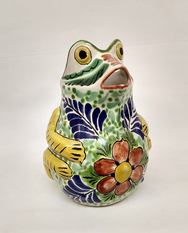 mexican water pitchers frog shape folk art hand painted gorky workshop