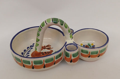 mexican ceramic snack dish folk art hand painted