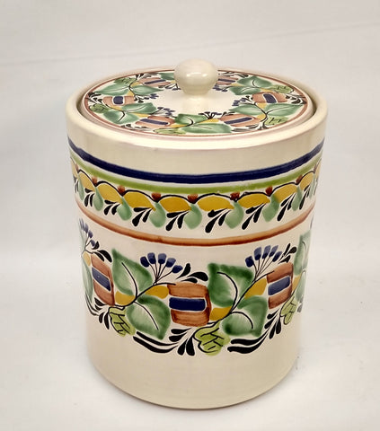 mexican ceramic ice vase folk art table top flowers pattern