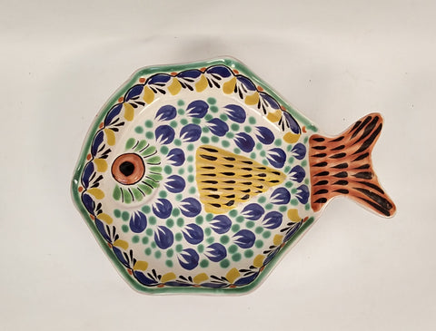 mexican plates folk art fish decorative table setting made in mexico