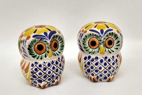 mexican pottery ceramic folk art majolica owl salt and pepper shaker