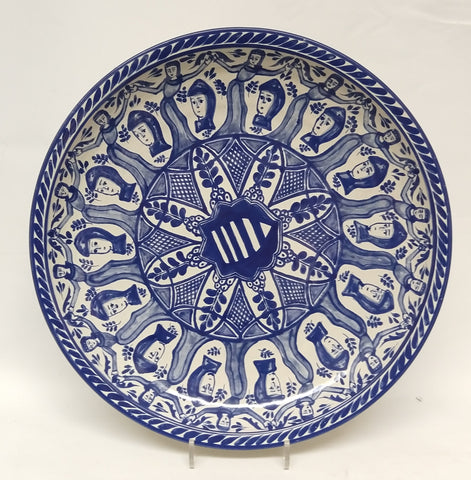 mexican platter decorative folk art hand painted blue faces gorky workshop