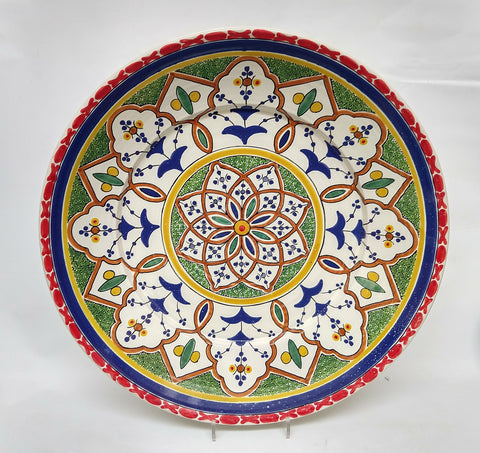mexican platter decorative wall plate morisco red folk art hand wheel hand painted by gorky gonzalez workshop