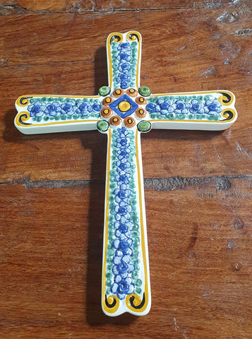 Large Cross-Ceramics-Handmade-Hand Painted-Mexican Pottery-Gorky Pottery-Tradicional-Decoration-Religion-Mexican Culture