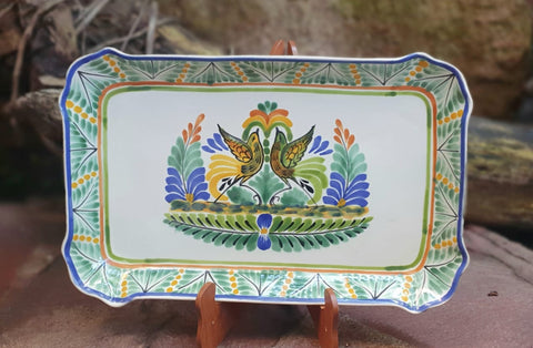 Love-Birds-Tray-Ceramics-Handmade-Hand Painted-Mexican Pottery-Gorky Pottery-Tradicional-Decoration-Kitchen-Table Top-Table Settings-Tebale Set UP-Eat Different-Cooking with Style-Mexican Table-Cook Different
