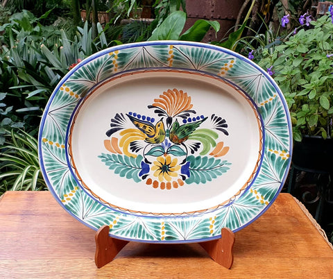 Love Birds Semi Oval Tray-Ceramics-Handmade-Hand Painted-Mexican Pottery-Gorky Pottery-Tradicional-Decoration-Kitchen-Table Top-Table Settings-Tebale Set UP-Eat Different-Cooking with Style-Mexican Table-Cook Different-Farm