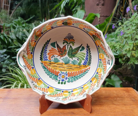 Love Birds-Octagonal Platter-Ceramics-Handmade-Hand Painted-Mexican Pottery-Gorky Pottery-Tradicional-Decoration-Kitchen-Table Top-Table Settings-Tebale Set UP-Eat Different-Cooking with Style-Mexican Table-Cook Different