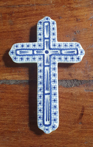 Medium Cross-Ceramics-Handmade-Hand Painted-Mexican Pottery-Gorky Pottery-Tradicional-Decoration-Religion-Mexican Culture