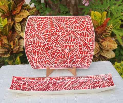 mexican ceramics red tray folk art hand painted