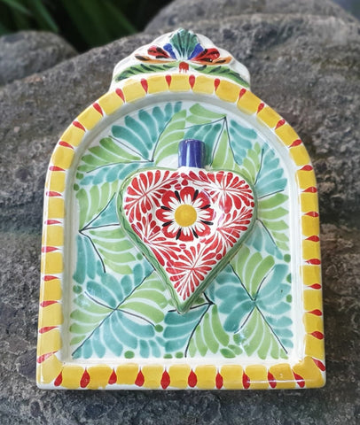 Mexican-pottery-Hand made- Hand painted-Mexican traditions-Gorky Pottery-mexican ceramic decor folk art pottery heart altar piece majolica