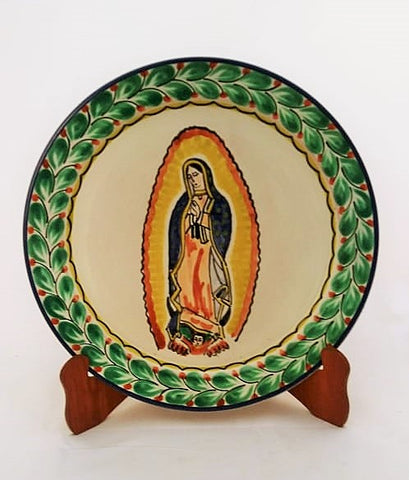 mexican plate lady of guadalupe motive folk art hand painted by gorky gonzalez workshop
